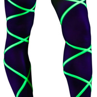 Neon Green Black Light Leg Wraps