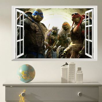 3D Effect Ninja Turtles Window View Kids Boys Bedroom Decorative Cool Poster Wall Stickers Vinyl Home Decor Decal Mural