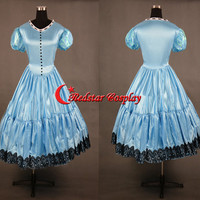 Alice in Wonderland Cosplay Disney Princess Alice Evening Party Dress Cosplay Costume