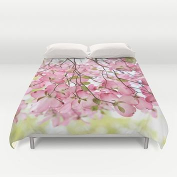 pink dogwoods Duvet Cover by Sylvia Cook Photography