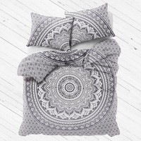 Gray Ombre Mandala Bedding Set Large Duvet Cover with Pillows - Amrita
