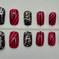 "Artificial Nails - ""Totally Tribal"" -  Tribal Striped Nails, Pink & Black, Hand Painted, Fake Nails"