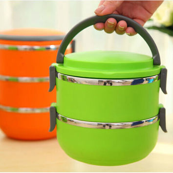 Two Layers Stainless Steel Insulation Storage food Container Dinnerware sets1400ML Thermal Bento Lunch Box Thermos For Food
