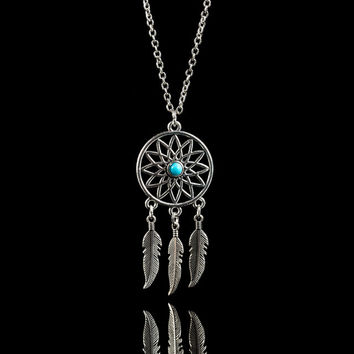 Dream catcher silver color metal necklace Indianan charm anti nightmare gift for friends+Christmas gifts