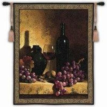 "Wine Bottle, Grapes & Walnuts - 42""x53"" Tapestry Wall Hanging"