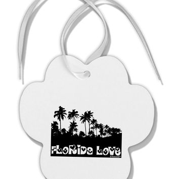 Florida Love - Palm Trees Cutout Design Paw Print Shaped Ornament by TooLoud