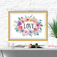 Love print Watercolor flower wreath Floral Nursery decor Large Love sign Valentines gift Love printable Wall art 8x10 11x14 16x20 DOWNLOAD