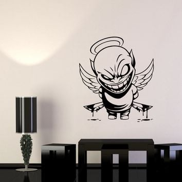 Wall Vinyl Sticker Decal Demon Angel Contrast Life Death Good Evil Bad Unique Gift (ed526)