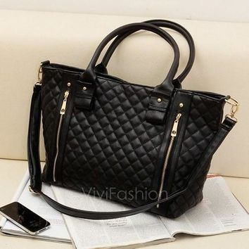 Day-First™ Black Retro Women Office Lady Quilted Shoulder Tote Bag Handbag Fashion VVF = 1932551812