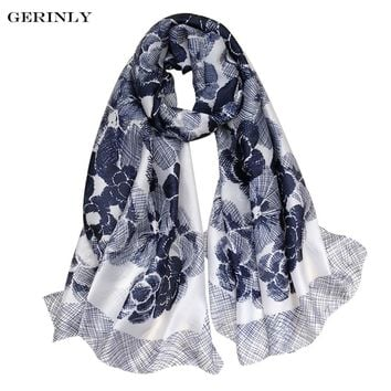 Fashion Silk Scarf Women Luxury Brand Bandana Beauty Camellia Print Wrap Soft Hijab Scarves Dressy Evening Party Shawls 90x180cm