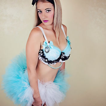 Alice in Wonderland  Costume / Rave Bra and Tutu