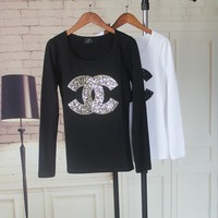 """Chanel"" Women Casual Fashion Logo Letter Sequins Embroidery Long Sleeve T-shirt Tight Tops"