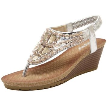 DCCKIX3 Stylish Design Summer Bohemia Wedge Shoes Rhinestone Sandals [4919704260]