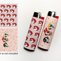 POWERPUFF GIRLS! 2 Waterproof Vinyl Lighter Stickers For Standard BIC Lighter Size With Powerpuff Girl Telephone Floral Pattern