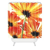 Shannon Clark Orange Daisies Shower Curtain