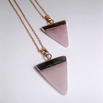 Rose Quartz Triangle Necklace - Crystal Quartz Necklace - Rose Quartz Pendant - Natural Stone - Healing Stone