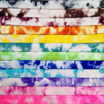 "12 Yards of 5/8"" Tie Dye Fold Over Elastic by the Yard - FOE Elastic - 1 Yard of each color"