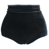 Black Velvet High Waisted Panties