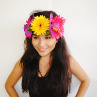 Hibiscus Flower Crown Flower Headband EDC by VintageDivinitiess
