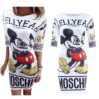 Women's Cute Mickey Mouse Long Sleeve White Summer Dress