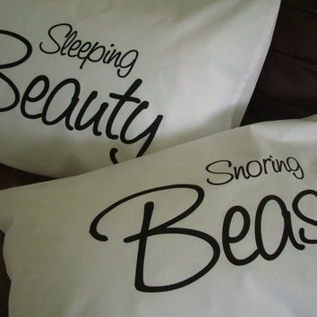 Pillow Cases: Sleeping Beauty & Snoring Beast Pillow Case Set for Couples