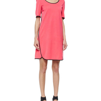 Short-Sleeve Shift Dress W/ Piping, Size: