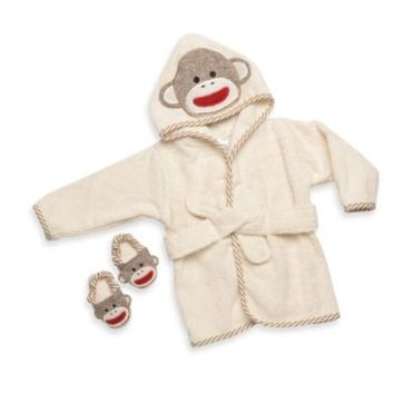 Baby Starters® Sock Monkey Bathrobe & Slippers Set in Cream