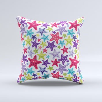 Smiley Faced Vector Colored Starfish Pattern Ink-Fuzed Decorative Throw Pillow