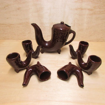 Vintage Set of 6 Glazed Ceramic Cups Horns Jug and Mugs for Drinking Horn Cups, Pottery Set Horn, Gift Idea