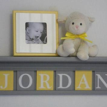 Nursery Name Shelves Personalized Baby Boy Gift 24' Gray Shelf and 6 Wooden Wall Lette