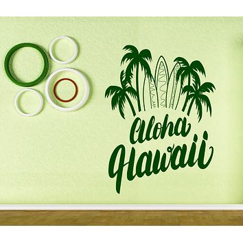 Large Vinyl Wall Stickers Aloha Hawaii Lettering Surf Poster Unique Gift (n694)