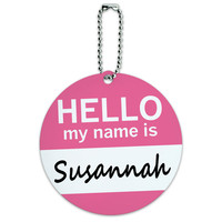 Susannah Hello My Name Is Round ID Card Luggage Tag