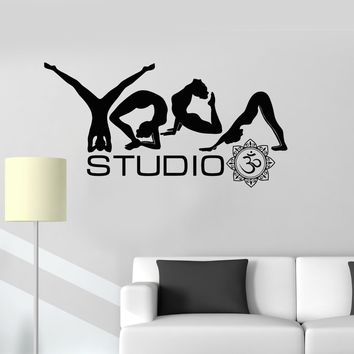 2016 new Vinyl Decal Yoga Studio Poses Word Buddhism Meditation Wall Stickers free shipping