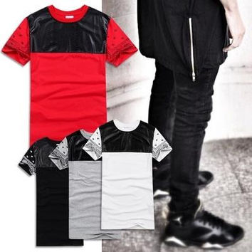 Men/Women's Long tshirts PU Leather Side Zipper Man Clothing Swag clothes Bandana Skateboard Tyga Hip Hop extended T-shirt