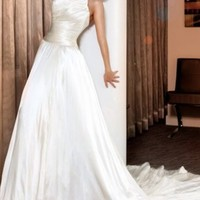 Strapless wedding gown with pleated satin bust, 157702