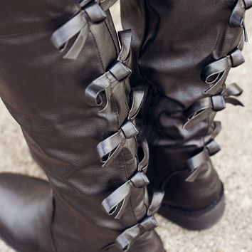 Better Than This - Black Bow Boots