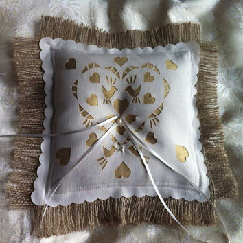 Gold Dupion Silk and Burlap Ring Bearer Pillow, freshwater pearls and laser cut love birds