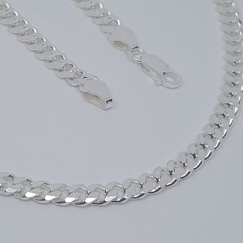 2-2803-g10 C150 Sterling Silver Italian Cuban Link, 5mm Wide, available in chain and bracelet.