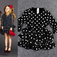 Black Polka Dots Trumpet Sheer Sleeves Flounce Ruffled Children Dress