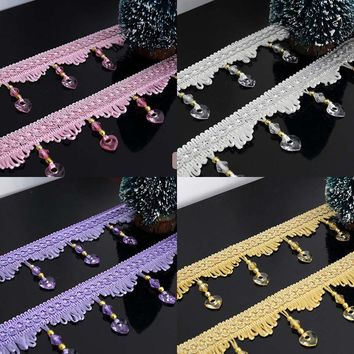 Luxury Curtain Lace African Cord Lace 7cm length Beads Tassel Fringe Trim Accessories Ribbon for DIY Drapery Sewing Decoration