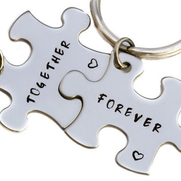 Together Forever Keychains | Puzzle Piece Key Chains | Hand Stamped Couples Gift | 2 Keyrings | Anniversary Gift | Boyfriend Girlfriend Gift