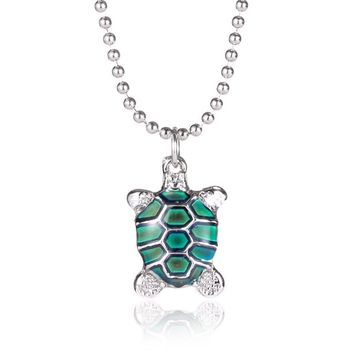 Turtle Mood Necklace Pendant with Bead Chain for Women