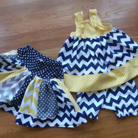 Sister Set Sibling Outfits Chevron Skirt Chevron Dress Chevron Sibling Set Riley Blake Chevron Navy Yellow skirt Navy Yellow