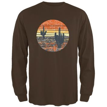 Vintage Cactus Sunset Mens Long Sleeve T Shirt