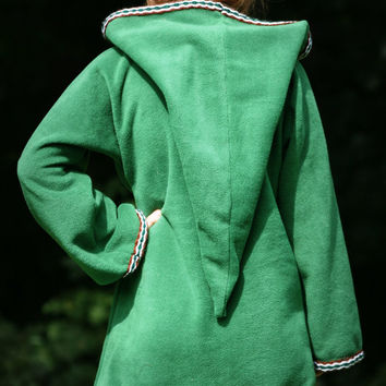 Legend of zelda cosplay costume Green Elven tunic - Medieval tunic - hyrule - Pixie hoodie - Halloween- festival tunic - pointy hood