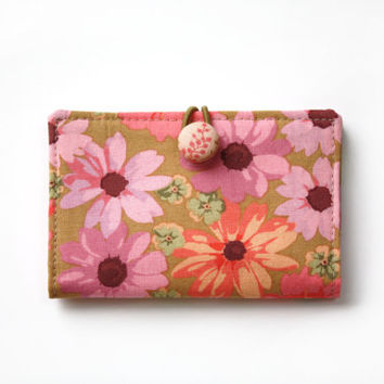 Card Holder, Credit Card Wallet, Gift Card Holder, Rowan, Pink, Ochre, Brown, Floral, Business Card Case