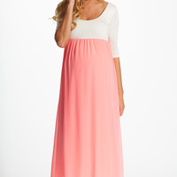 Pink Chiffon Colorblock Maternity Maxi Dress
