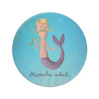Blond Mustached Merman Beverage Coaster from Zazzle.com