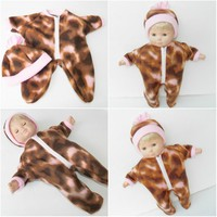 BITTY BABY PAJAMAS,Pink and Brown Camouflage Pajamas and Hat for Bitty Baby Girl or Twins Dolls