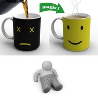 Vansaile Magic Morning Face Changing Heat Sensitive Porcelain Tea Coffee Mug 12OZ+Mister TEA Silicone Tea Infuser